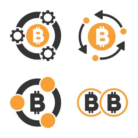 Bitcoin Collaboration vector icon set. Style is bicolor flat symbols. Illustration