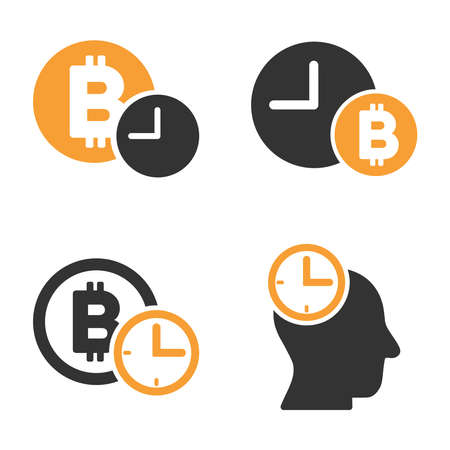 Bitcoin Credit Time vector icon set. Style is bicolor flat symbols.