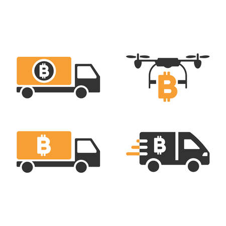 Bitcoin Delivery vector icon set. Style is bicolor flat symbols.