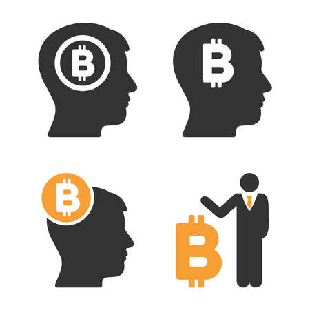 Bitcoin Mind vector icon set. Style is bicolor flat symbols. Illustration