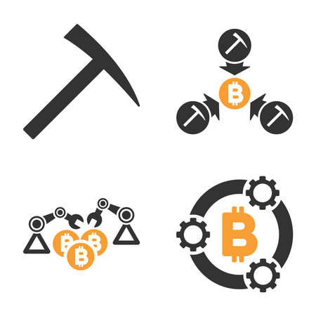 Bitcoin Mining Pool vector icon set. Style is bicolor flat symbols.