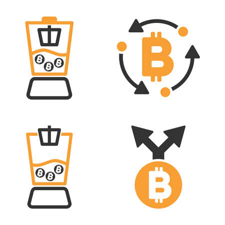 Bitcoin Mixer vector icon set. Style is bicolor flat symbols. Illustration