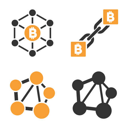 Bitcoin Net Links vector icon set. Style is bicolor flat symbols. Illustration