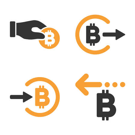 Bitcoin Payment vector icon set. Style is bicolor flat symbols.
