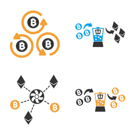 Cryptocurrency Mixer vector icon set. Style is bicolor flat symbols. Illustration