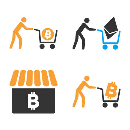 Cryptocurrency Shopping vector icon set. Style is bicolor flat symbols.
