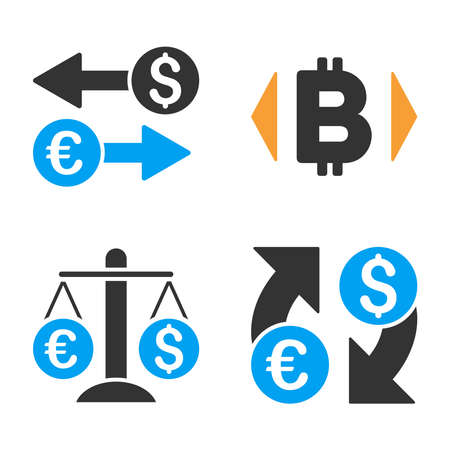 Currency Exchange vector icon set. Style is bicolor flat symbols.