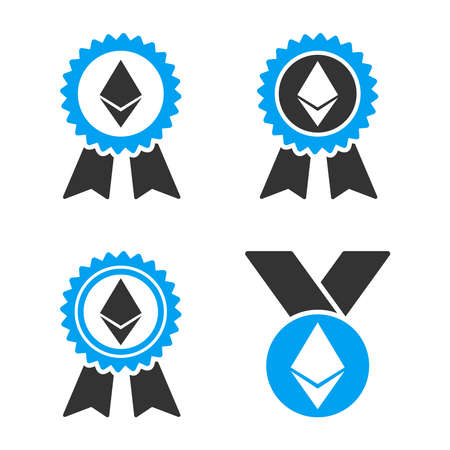 Ethereum Award Medal vector icon set. Style is bicolor flat symbols.