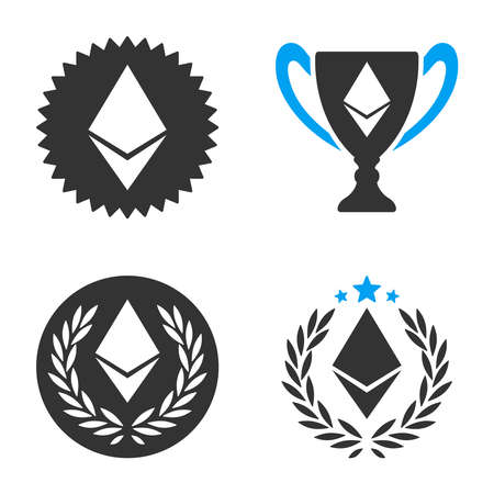 Ethereum Award vector icon set. Style is bicolor flat symbols.