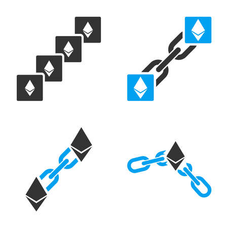 Ethereum Blockchain vector icon set. Style is bicolor flat symbols.