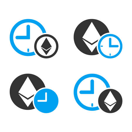Ethereum Credit Time vector icon set. Style is bicolor flat symbols.