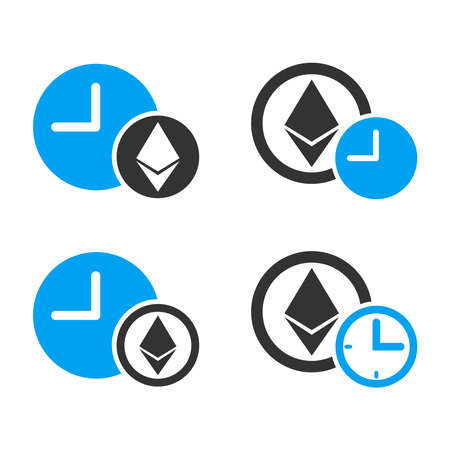 Ethereum Credit vector icon set. Style is bicolor flat symbols.
