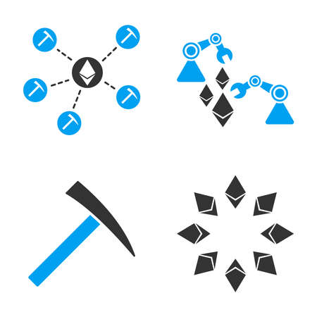 Ethereum Mine vector icon set. Style is bicolor flat symbols. Illustration