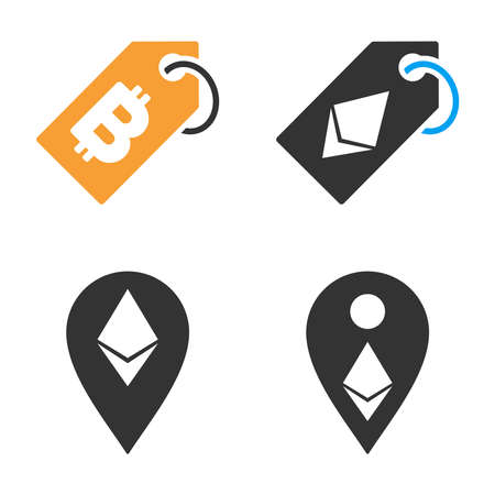 Cryptocurrency Tag vector icon set. Style is bicolor flat symbols. Illustration