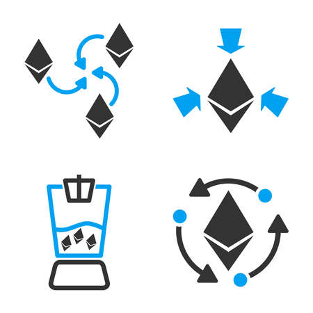 Ethereum Mixer vector icon set. Style is bicolor flat symbols.