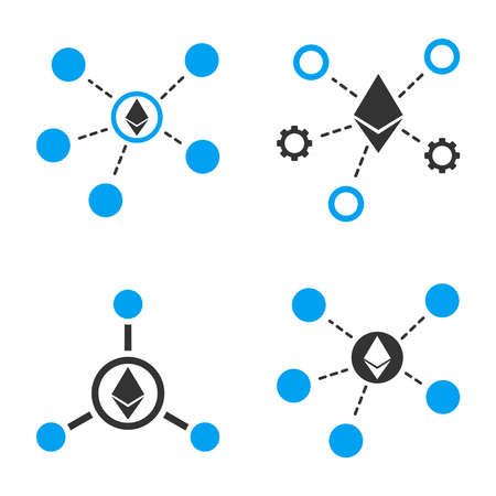Ethereum Net Links vector icon set. Style is bicolor flat symbols. Illustration