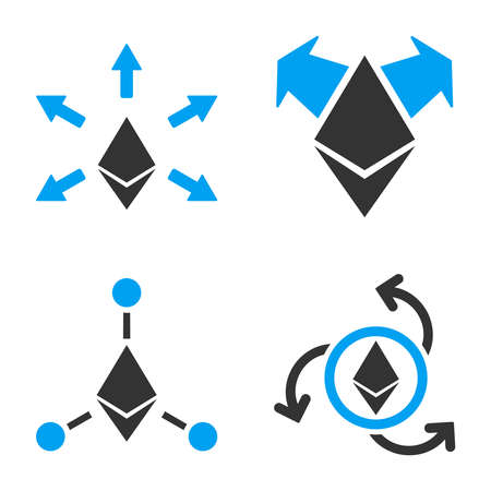Ethereum Payout vector icon set. Style is bicolor flat symbols. Illustration