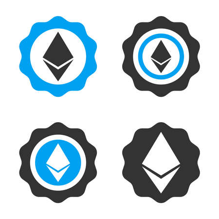 Ethereum Stamp Seal vector icon set. Style is bicolor flat symbols. Illustration
