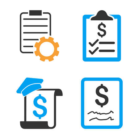Smart Contract vector icon set. Style is bicolor flat symbols. Illustration