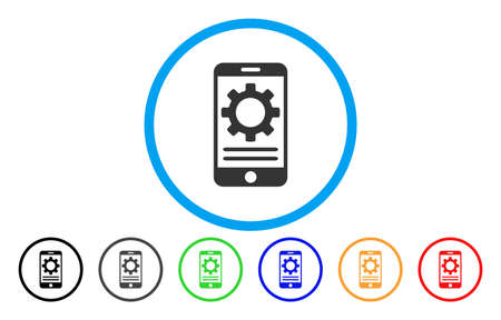 install: Mobile Screen Options Gear vector rounded icon. Image style is a flat gray icon symbol inside a blue circle. Bonus color variants are grey, black, blue, green, red, orange.