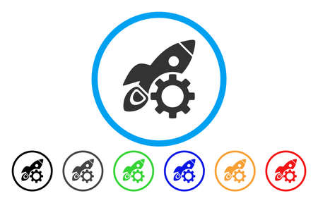 install: Rocket Science Options Gear vector rounded icon. Image style is a flat gray icon symbol inside a blue circle. Additional color versions are gray, black, blue, green, red, orange.