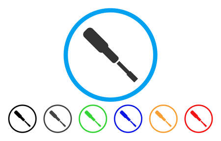 Screwdriver vector rounded icon. Image style is a flat gray icon symbol inside a blue circle. Additional color versions are grey, black, blue, green, red, orange.