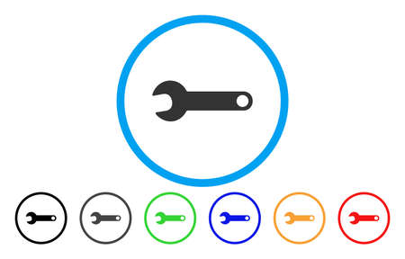 install: Spanner vector rounded icon. Image style is a flat gray icon symbol inside a blue circle. Additional color variants are grey, black, blue, green, red, orange.