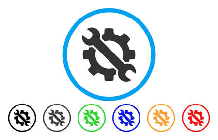 Wrench And Gear Setup Tools vector rounded icon. Image style is a flat gray icon symbol inside a blue circle. Additional color variants are grey, black, blue, green, red, orange.
