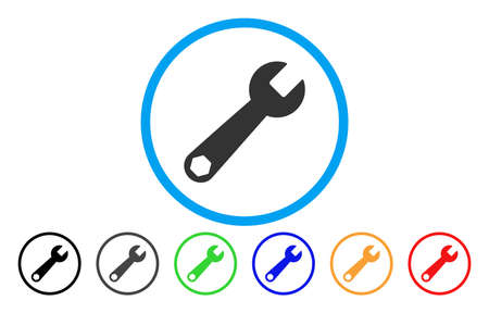 Wrench vector rounded icon. Image style is a flat gray icon symbol inside a blue circle. Bonus color versions are grey, black, blue, green, red, orange.