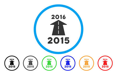 next year: 2016 Future Road vector rounded icon. Image style is a flat gray icon symbol inside a blue circle. Bonus color variants are grey, black, blue, green, red, orange.
