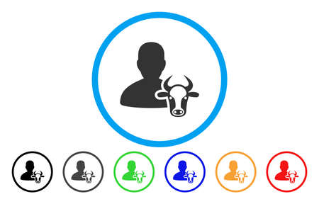 countryman: Cow Farmer vector rounded icon. Image style is a flat gray icon symbol inside a blue circle. Bonus color variants are gray, black, blue, green, red, orange.