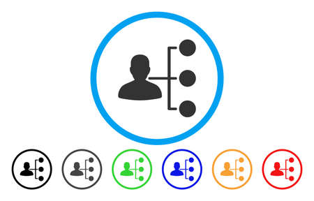 Distributor vector rounded icon. Image style is a flat gray icon symbol inside a blue circle. Bonus color versions are gray, black, blue, green, red, orange.