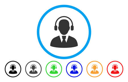 talker: Call Center Operator vector rounded icon. Image style is a flat gray icon symbol inside a blue circle. Bonus color versions are grey, black, blue, green, red, orange.