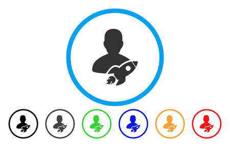 Startuper vector rounded icon. Image style is a flat gray icon symbol inside a blue circle. Additional color variants are gray, black, blue, green, red, orange. Illustration
