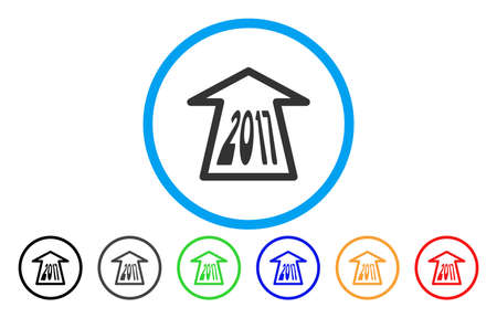next year: 2017 Ahead Arrow vector rounded icon. Image style is a flat gray icon symbol inside a blue circle. Bonus color variants are gray, black, blue, green, red, orange.