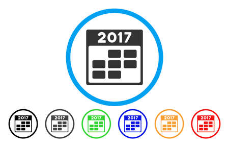 planner: 2017 Calendar Week vector rounded icon. Image style is a flat gray icon symbol inside a blue circle. Additional color versions are grey, black, blue, green, red, orange. Illustration