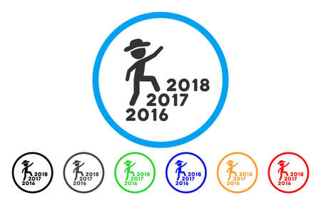 next year: Gentleman Steps Years From 2016 To 2018 vector rounded icon. Image style is a flat gray icon symbol inside a blue circle. Additional color versions are gray, black, blue, green, red, orange.
