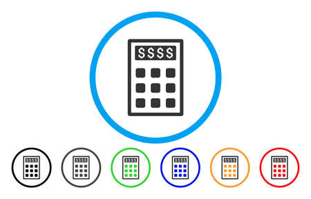 Book-Keeping Calculator vector rounded icon. Image style is a flat gray icon symbol inside a blue circle. Additional color versions are grey, black, blue, green, red, orange. Illustration