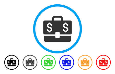 Accounting Case vector rounded icon. Image style is a flat gray icon symbol inside a blue circle. Bonus color variants are gray, black, blue, green, red, orange.