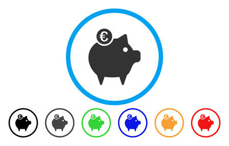 Euro Piggy Bank vector rounded icon. Image style is a flat gray icon symbol inside a blue circle. Bonus color versions are grey, black, blue, green, red, orange. Illustration