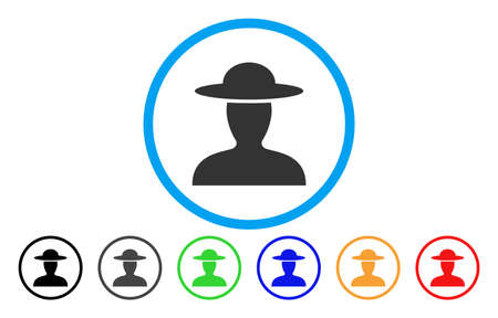 agronomist: Farmer Person vector rounded icon. Image style is a flat gray icon symbol inside a blue circle. Bonus color versions are gray, black, blue, green, red, orange.