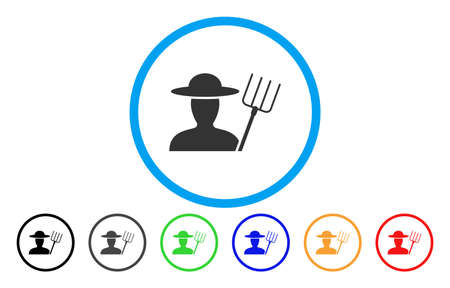 agronomist: Farmer With Pitchfork vector rounded icon. Image style is a flat gray icon symbol inside a blue circle. Bonus color variants are grey, black, blue, green, red, orange.
