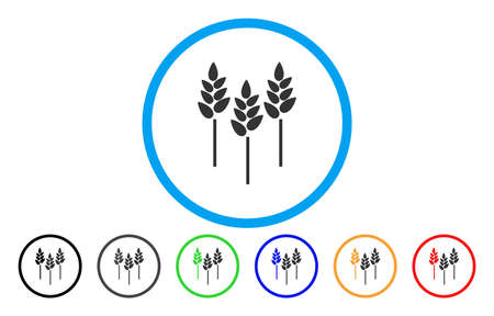 Wheat Ears vector rounded icon. Image style is a flat gray icon symbol inside a blue circle. Additional color variants are grey, black, blue, green, red, orange. Illustration