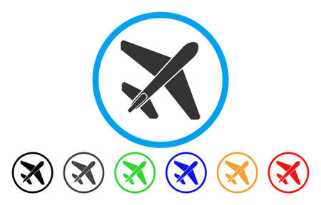 usaf: Jet Airplane vector rounded icon. Image style is a flat gray icon symbol inside a blue circle. Bonus color versions are grey, black, blue, green, red, orange.