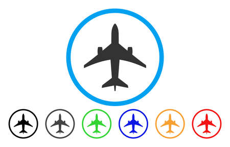 usaf: Jet Plane vector rounded icon. Image style is a flat gray icon symbol inside a blue circle. Bonus color versions are gray, black, blue, green, red, orange.