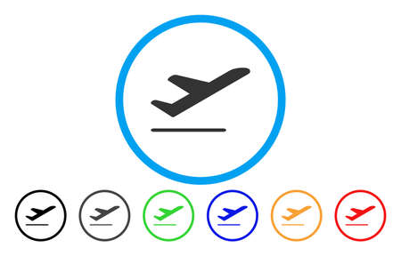 Airplane Departure vector rounded icon. Image style is a flat gray icon symbol inside a blue circle. Bonus color versions are grey, black, blue, green, red, orange.