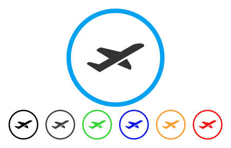 Airplane Takeoff vector rounded icon. Image style is a flat gray icon symbol inside a blue circle. Additional color variants are grey, black, blue, green, red, orange.