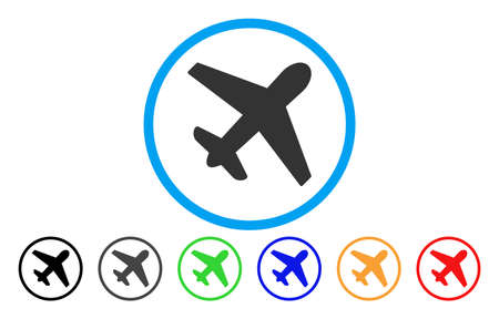 Airplane vector rounded icon. Image style is a flat gray icon symbol inside a blue circle. Bonus color versions are grey, black, blue, green, red, orange.