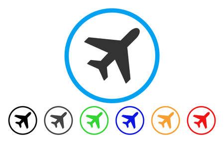 Plane vector rounded icon. Image style is a flat gray icon symbol inside a blue circle. Additional color versions are gray, black, blue, green, red, orange. Illustration
