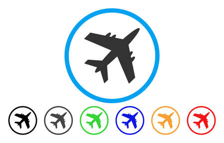 usaf: Aircraft vector rounded icon. Image style is a flat gray icon symbol inside a blue circle. Bonus color variants are gray, black, blue, green, red, orange. Illustration